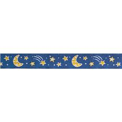 "5/8"" Ribbon Moon & Stars Dark Blue Sky"