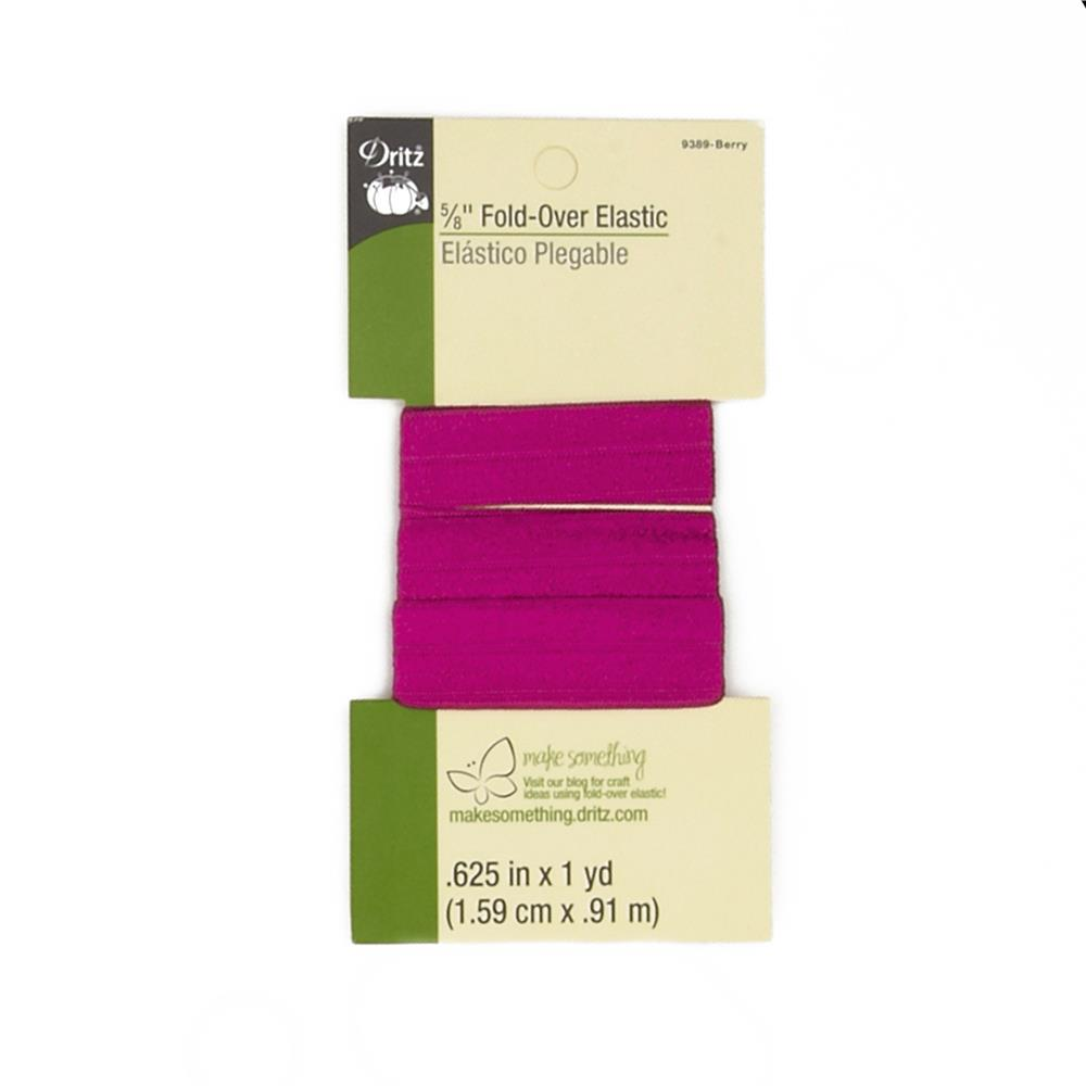 """Fold-Over Elastic 5/8""""X1yd-Berry"""
