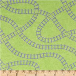 Train Flannel Train Tracks Green