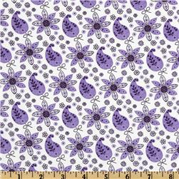 Lites & Brites Paisley Floral White/Purple Fabric