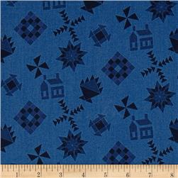 Almost Amish Guilt Black Toss Blue