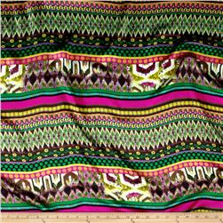 Charmeuse Satin Mixed Stripe Multi