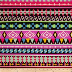 Aztec Stretch ITY Jersey Knit Lavendar/Black