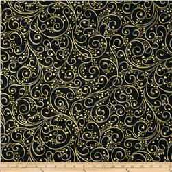 Crush on You Metallic Heart Scroll Black/Gold Fabric