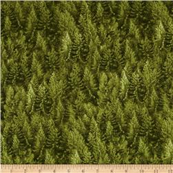 Timeless Treasures Cabin Flannel Pine Trees Green