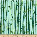 Quilting Treasures Imperial Panda Bamboo Stripe Light Teal