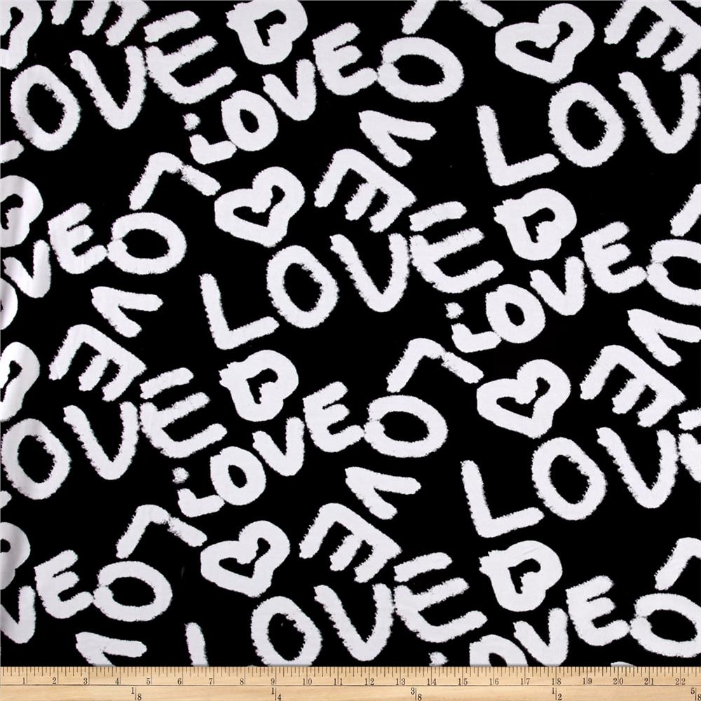 Love Graffiti Print Jersey Knit Black White