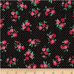 Fashion Printed Denim Retro Dotted Flower Floral