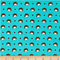 Michael Miller Fox Woods Hedgehog Heaven Turquoise