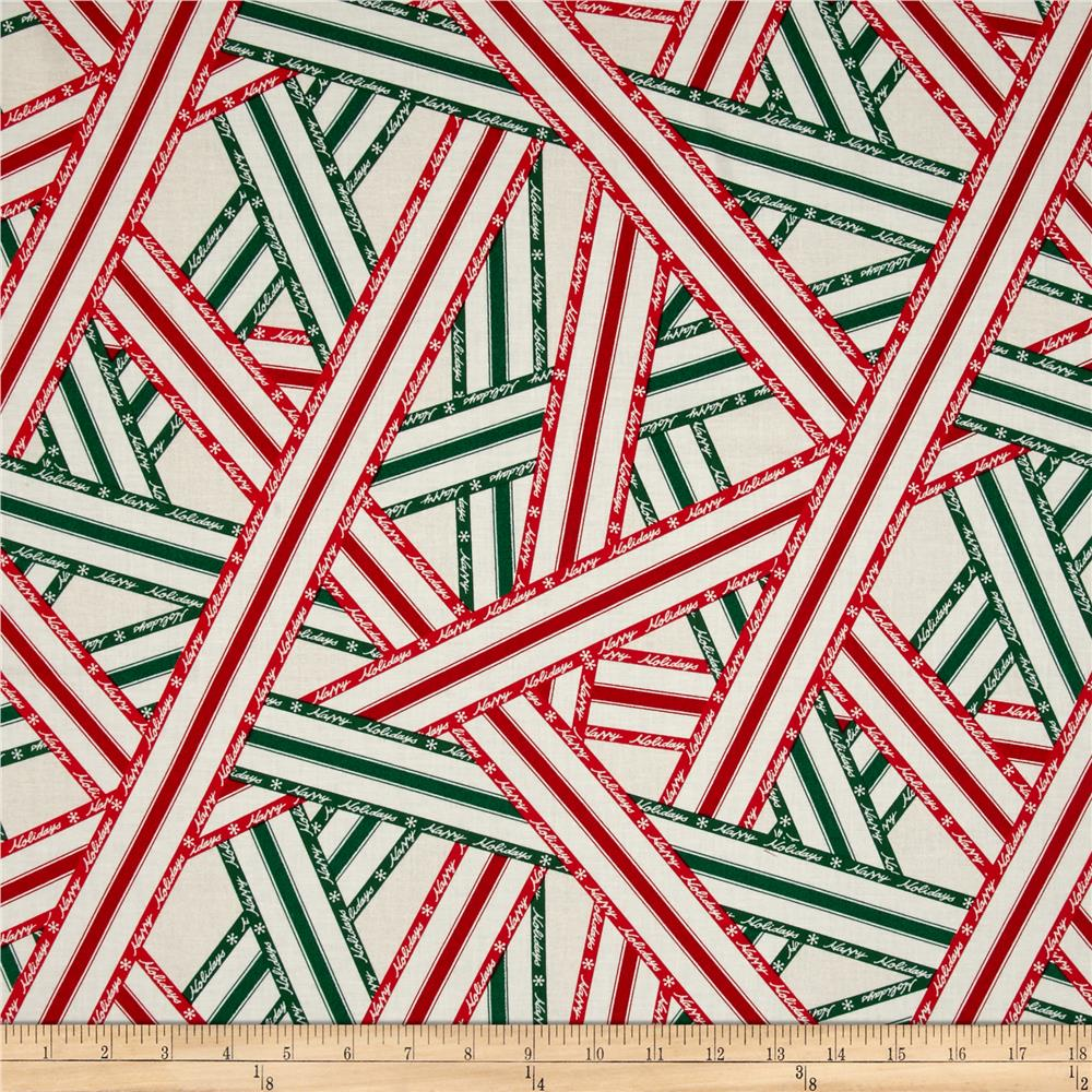 Lecien Happy Holidays Ribbon Print Green