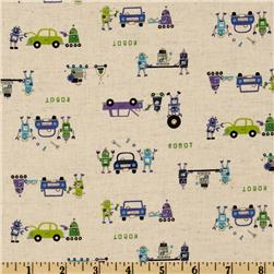 Kokka Trefle Petite Ecole Cotton/Linen Canvas Robots Lime