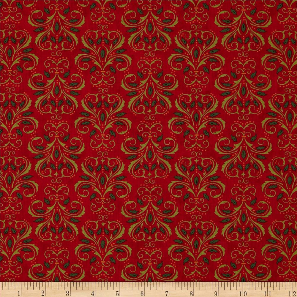 Moda Christmas Countdown Christmas Damask Berry Red