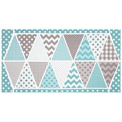 Riley Blake Holiday Banners 2 Boy Panel Aqua/White/Grey
