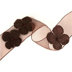 1 1/2'' Wired Organza Ribbon 3D Flowers Brown