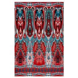 "ITY Stretch Knit 41.5"" Panel Aztec Paisley Orange/Aqua/White"