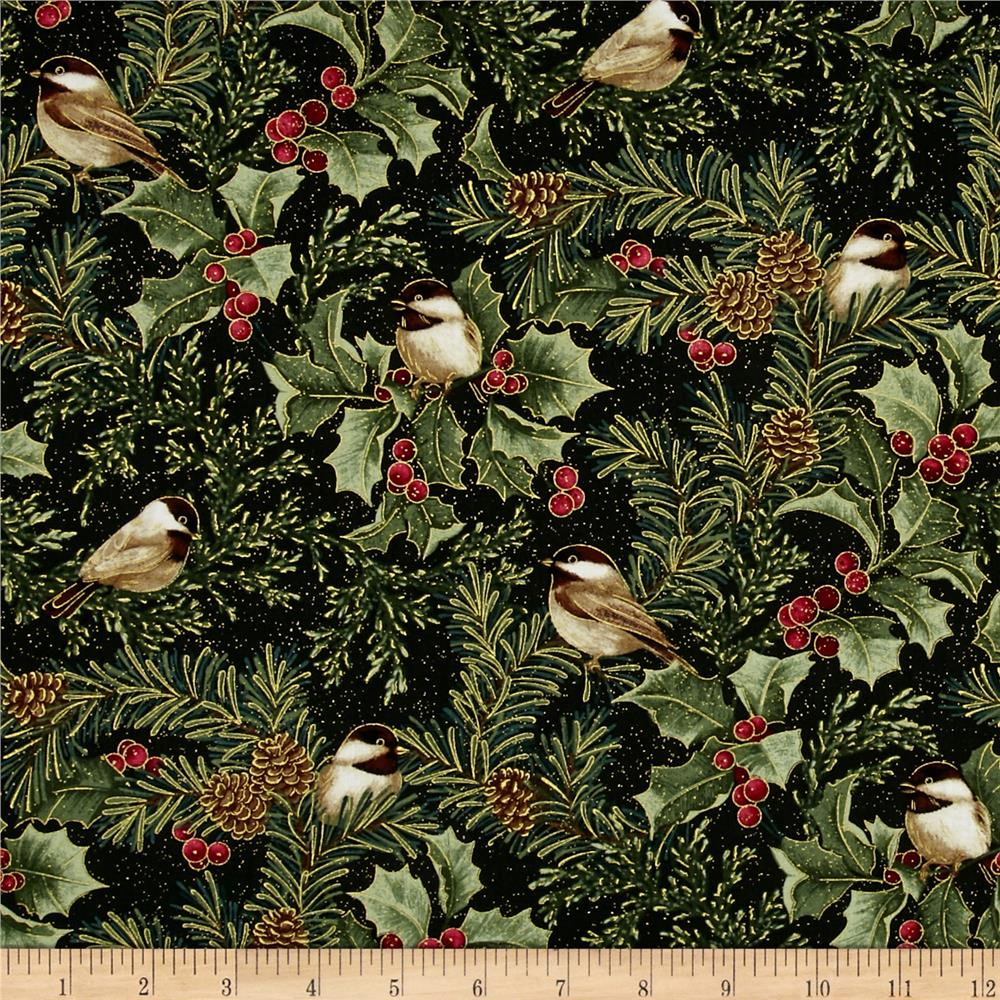 Chickadees and Berries Metallic Chickadees and Holly Allover Multi