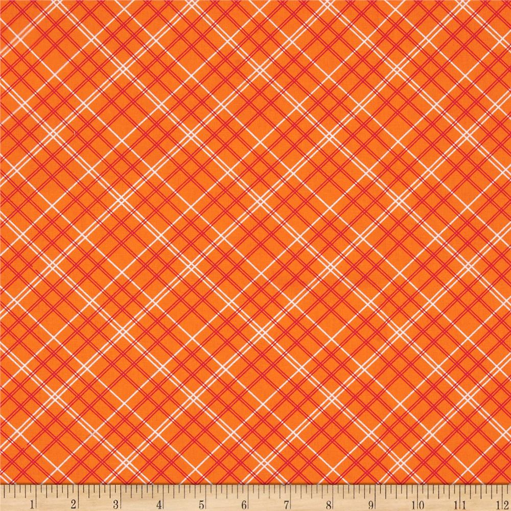 """Riley Blake Bee Backings and Borders 108"""" Quilt Back Plaid Orange"""