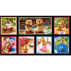 Robert Kaufman Chip Chip Hooray Chipmunk Block 24'' Panel Bright