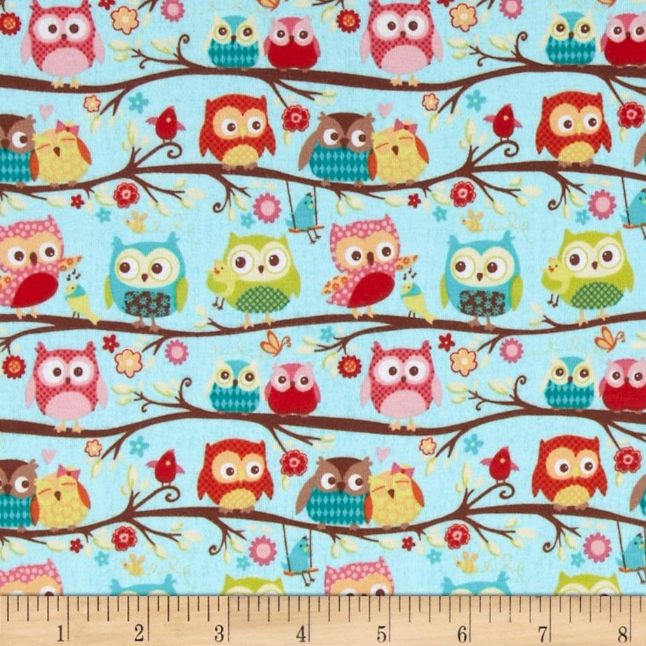 Riley blake cotton jersey knit happy flappers owl blue for Children s jersey fabric