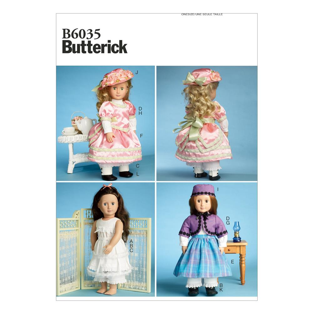 "Butterick Clothes for 18"" Doll Pattern B6035 Size OSZ"