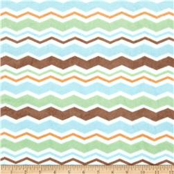 Minky Plush Chevron Brown/Mint