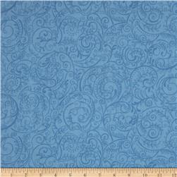 Charleston 108'' Wide Quilt Backing Swirly Vine Wedgewood