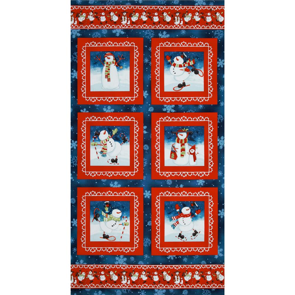 Chilly Silly Snowmates Panel Border Blue