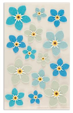 Martha Stewart Crafts Stickers Forget-Me-Not Flowers Blue