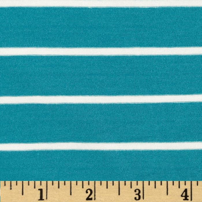 Telio Stretch Bamboo Mariner Jersey Knit Stripe Turquoise/Off White Fabric By The Yard