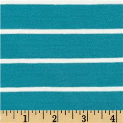 Stretch Bamboo Rayon Mariner Jersey Knit Stripe Turquoise/Off White