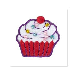 Cupcake w/Beads Applique Pink/White/Multi
