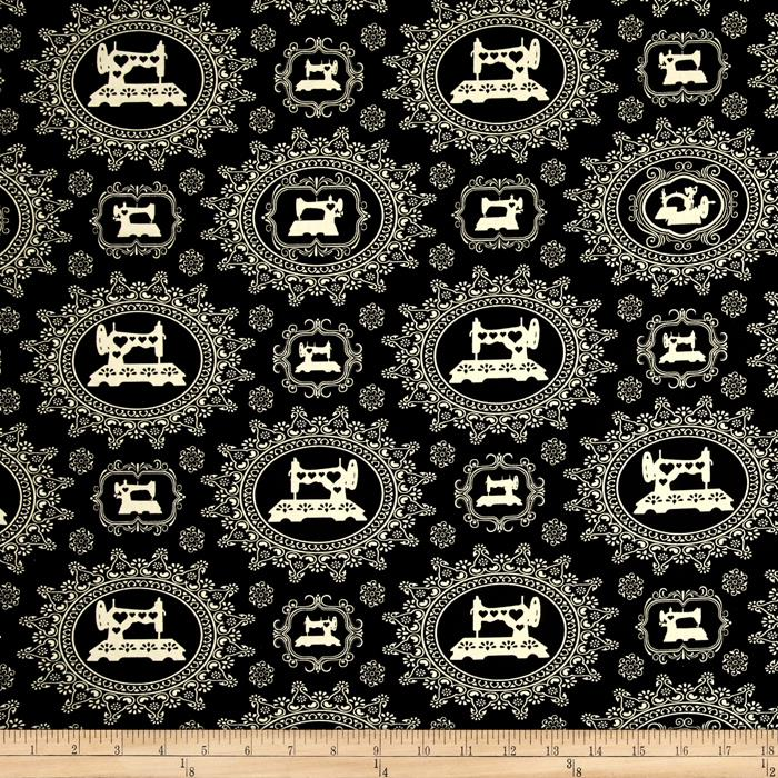 Thimble Pleasures Sewing Damask Black