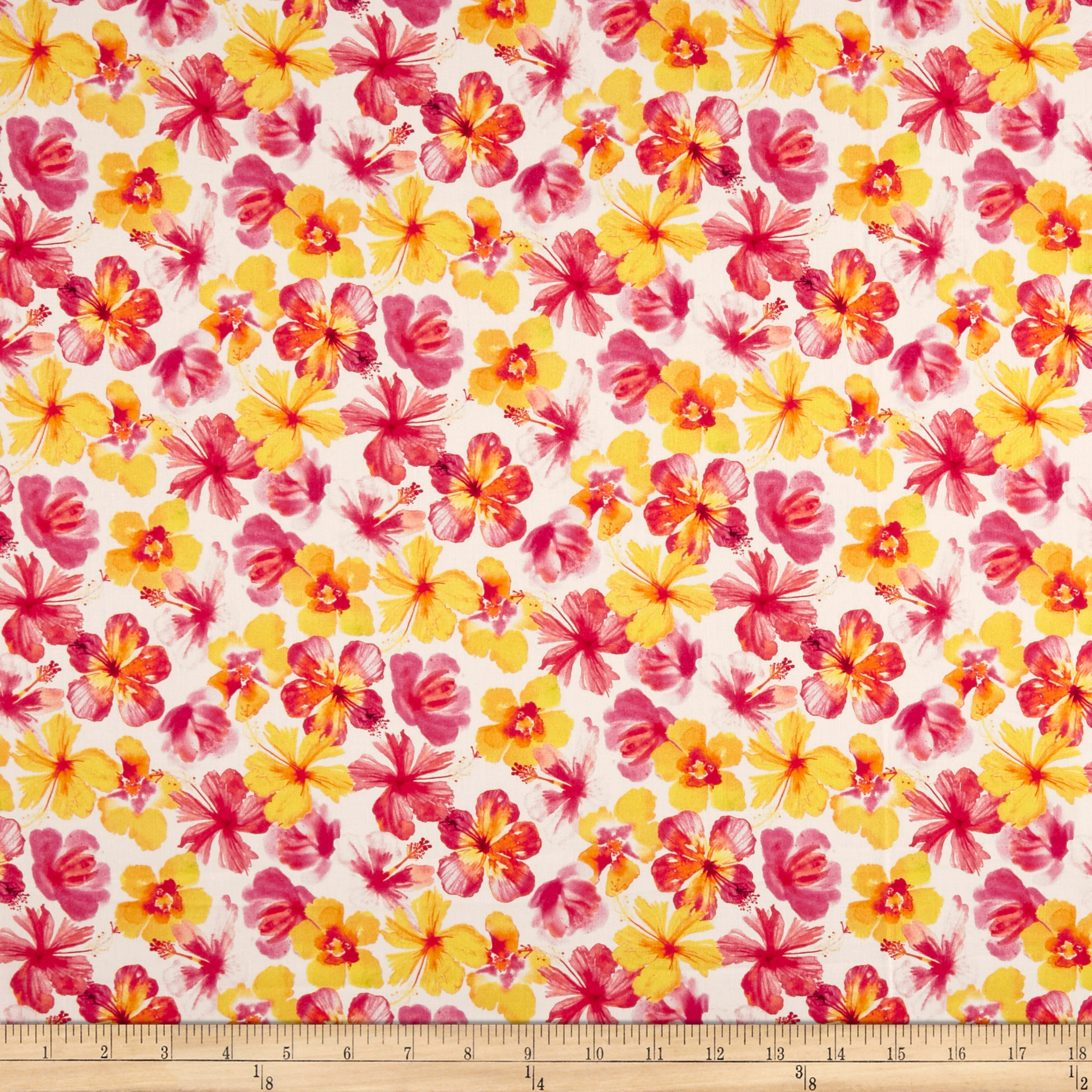 Tropicale Flowers White Fabric