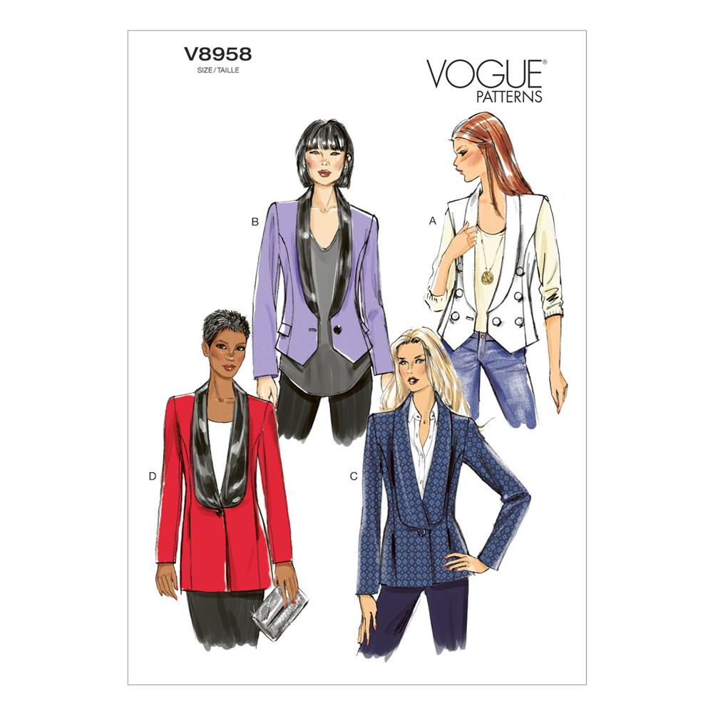 Vogue Misses' Vest and Jacket Pattern V8958 Size