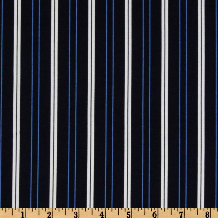 Stretch Cotton Twill Stripes Navy/Blue
