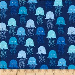 Timeless Treasures Splash Jelly Fish Navy
