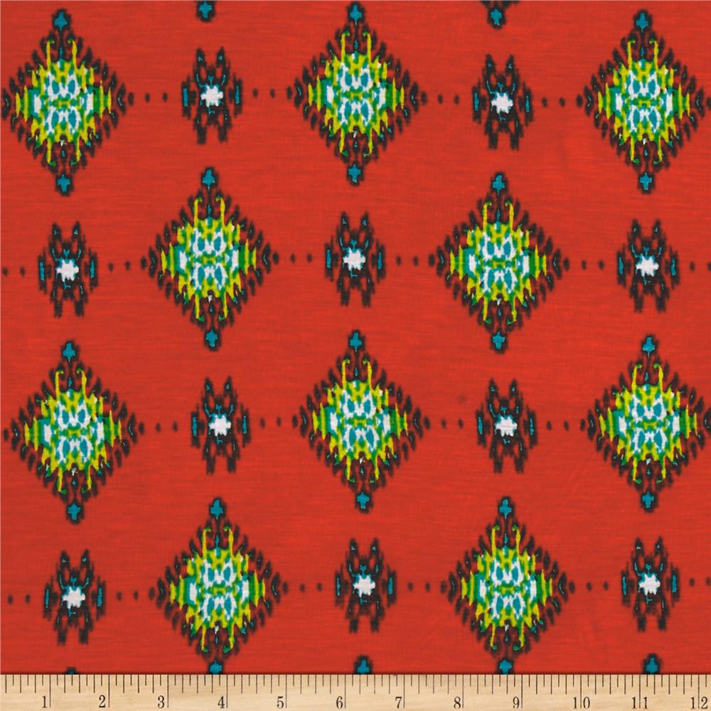 Lightweight Jersey Knit Batik Diamonds Coral Fabric By The Yard