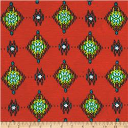 Lightweight Jersey Knit Batik Diamonds Coral