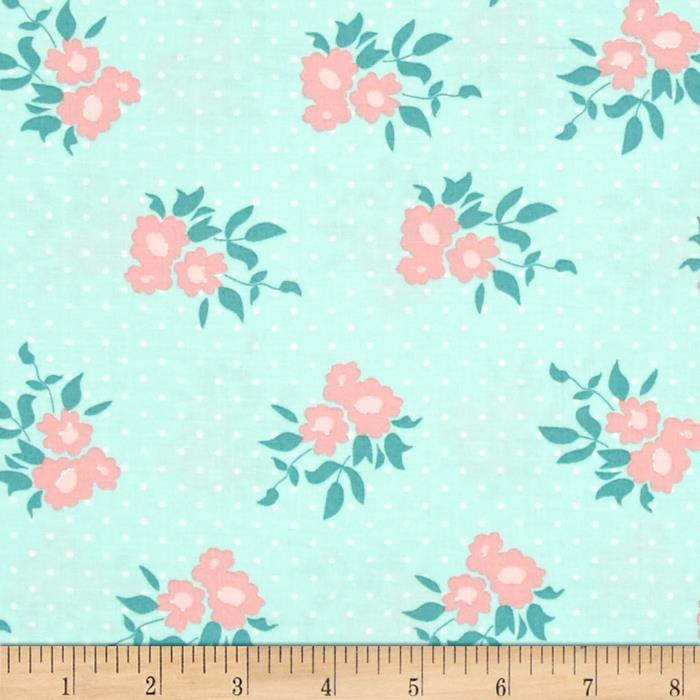 Moda Kindred Spirits Medium Floral Light Aqua