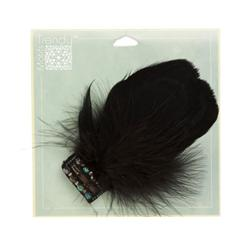 Disco Feather Brooch 2-1/2'' x 5'' Black