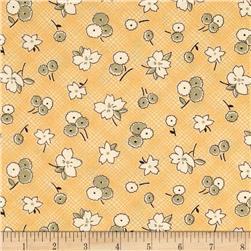 Thimbleberries Block Party Tossed Flowers Plaid Yellow