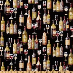 Wine Lovers Bottles Black Fabric
