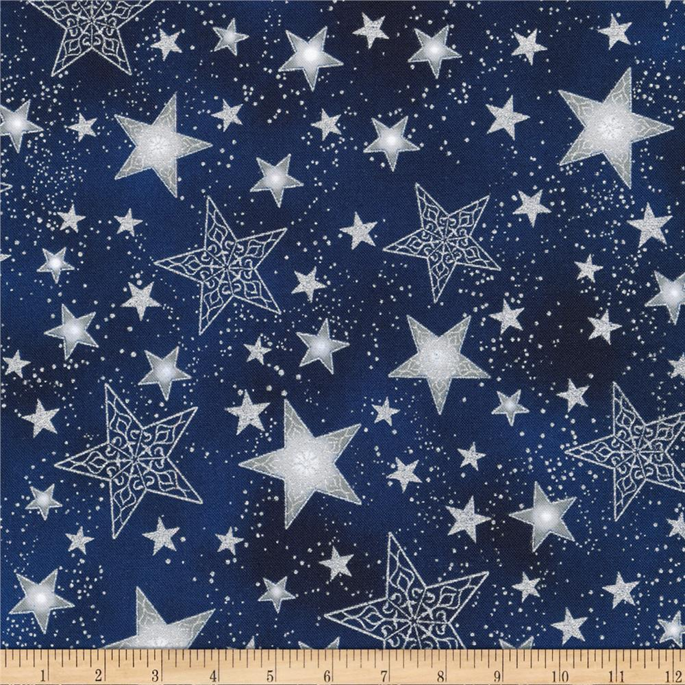 Kaufman Winter Grandeur Metallic Stars Evening