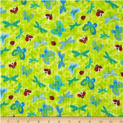 Tutti Frutti Plisse Butterflies and Ladybugs Pistachio Fabric