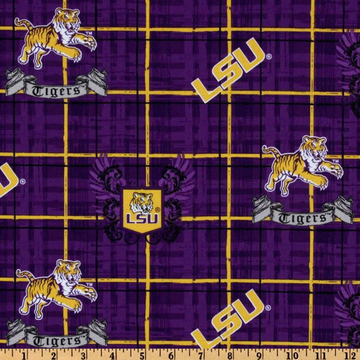 Collegiate Cotton Broadcloth Louisiana State University Plaid Purple