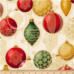 Kaufman Winter Grandeur Metallic Ornaments Holiday