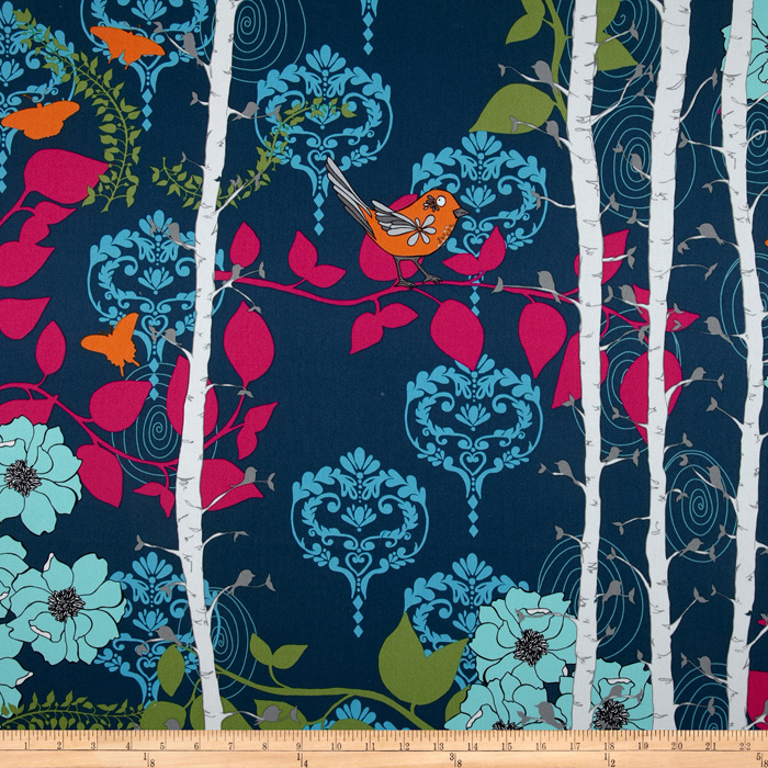 Valori Wells Novella Cotton Sateen Finnelopy Indigo Fabric