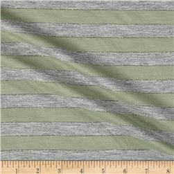 Jersey Knit Stripe Heather Gray/Olive/Silver