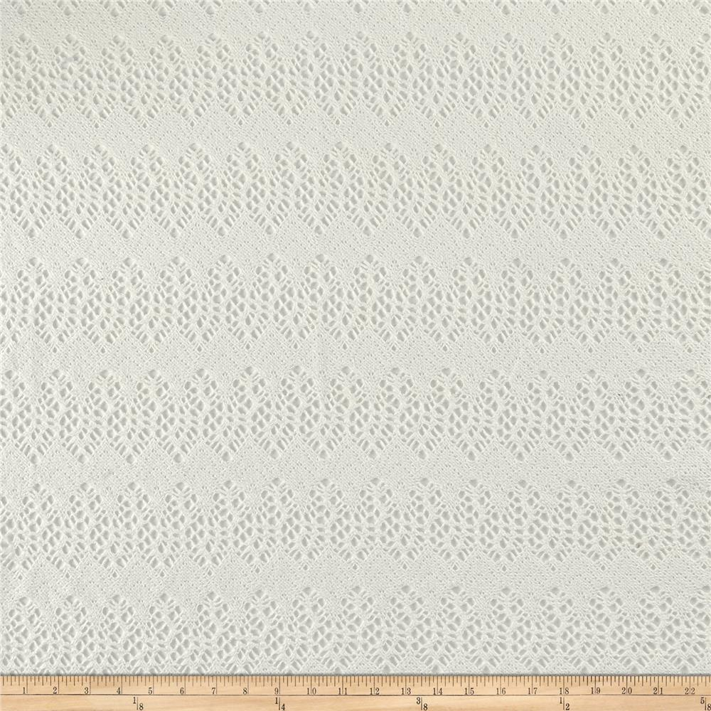 Italian Designer Cotton Scallopped Pattern Lace Ivory Fabric