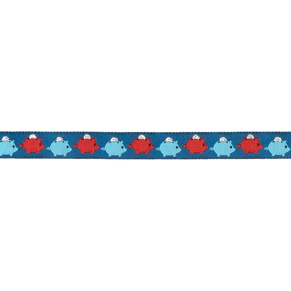 "5/8"" Piggy Bank Ribbon Blue"